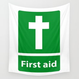 First Aid Cross - Christian Sign Illustration Wall Tapestry