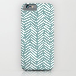 Herringbone, Christmas, Teal, Boho Art iPhone Case