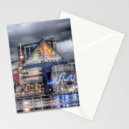 Baltimore Inner Harbor National Aquarium Skyline At Night Stationery Cards