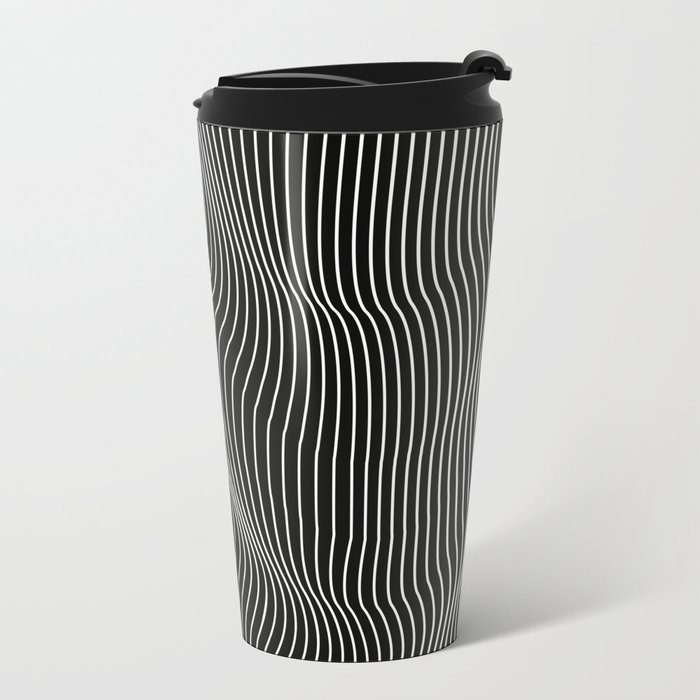 Minimal curves black Metal Travel Mug