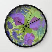 hawaiian Wall Clocks featuring Hawaiian Purple by ALLY COXON