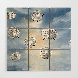Digital Sheep in a Watercolor Sky Wood Wall Art