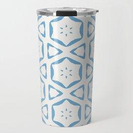 Anais geo floral simple white and blue Travel Mug