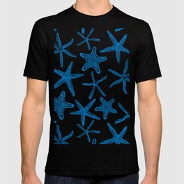 Sea stars in blue T-shirt