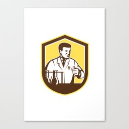 Scientist Lab Researcher Chemist Shield Retro  Canvas Print