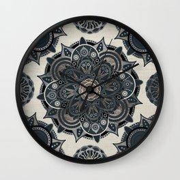 Silver Mandala Wall Clock