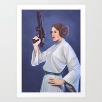 leia Art Prints featuring Leia by Sara Meseguer