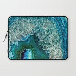 Aqua turquoise agate mineral gem stone - Beautiful Backdrop Laptop Sleeve