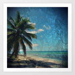 Caribbean Blue digital Artwork Isla Saona Tribute Art Print