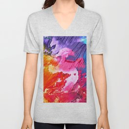BRIGHT ABSTRACT PAINTING Unisex V-Neck