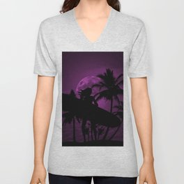 Purple Dusk with Surfergirl in Black Silhouette with Longboard Unisex V-Neck