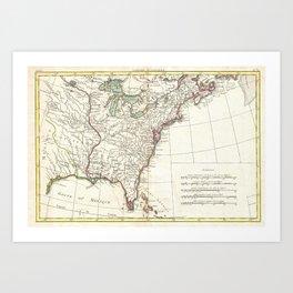 Thirteen Colonies Vintage Map (1776) Art Print