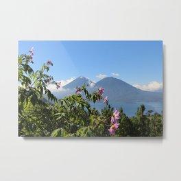 Lago Atitlan and flowers Metal Print