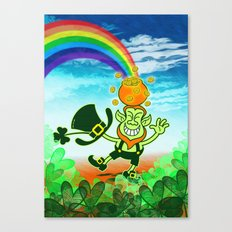 Leprechaun Balancing a Pot of Gold on his Head Canvas Print