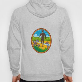 Marathon Runner and Bluebells Oval Retro Hoody