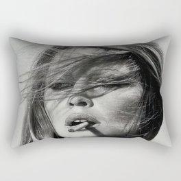Brigitte Bardot Smoking a Cigarette, Black and White Photograph Rectangular Pillow