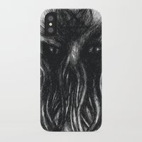 """cthulu iPhone & iPod Cases featuring Cthulu """"He is Risen"""" H.P. Lovecraft by Xenomorphic Press"""