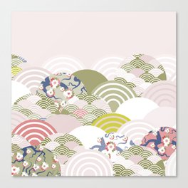 scales simple Nature background with japanese sakura flower, rosy pink Cherry, wave circle pattern Canvas Print