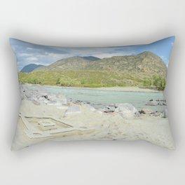 sandy beach on the river Katun, Altai Mountains, Siberia, Russia Rectangular Pillow
