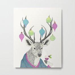 Mr. Deer gets festive  Metal Print