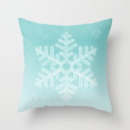 Snowfake Greeting - Ombre Teal Throw Pillow