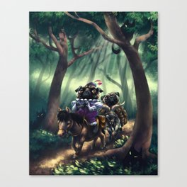 Monsieur Pug and Monk Pug in the Woods Canvas Print
