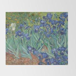 Irises by Vincent van Gogh Throw Blanket