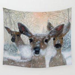 Deer in the Snowy Woods Wall Tapestry