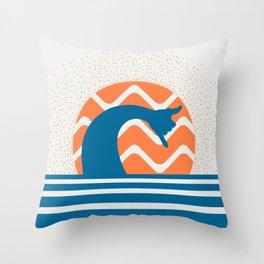 Hang Loose Wave // Sun Surfer Shaka Beach Retro Graphic Design Horizontal Daze Waves Throw Pillow