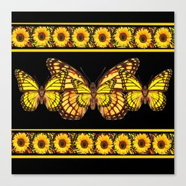 YELLOW MONARCH BUTTERFLIES & SUNFLOWERS BLACK ART Canvas Print
