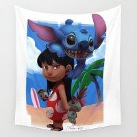 stitch Wall Tapestries featuring Lilo & Stitch by Archiri Usagi