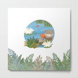 Otter in the forest Metal Print