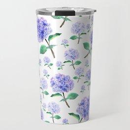 purple blue hydrangea pattern Travel Mug