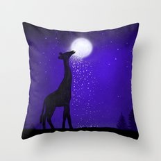 watch out here lives a hungry giraffe. Throw Pillow