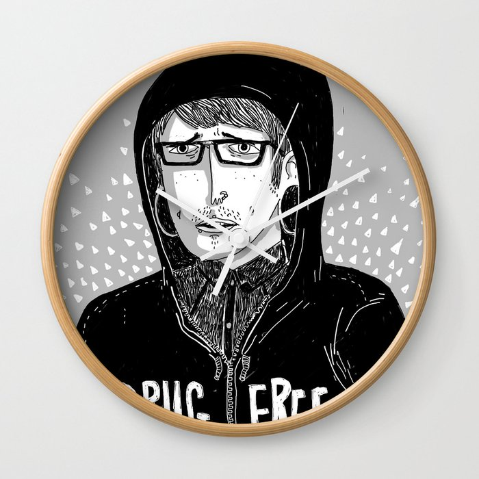 Drug Free Wall Clock By Philipdearest Society6