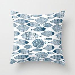 Blue Fish White Throw Pillow