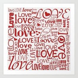 Red Love Words Art Print