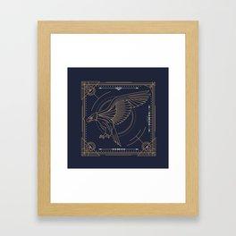 Eagle Full Size Side Gold White on Black Background Framed Art Print