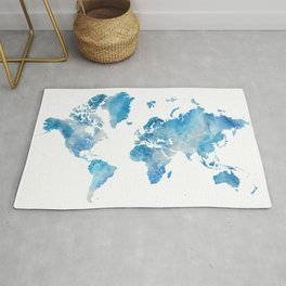 """Grey and blue watercolor world map with outlined countries, """"Raleigh"""" Rug"""
