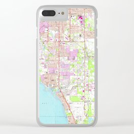 Vintage Map of Bradenton Florida (1964) Clear iPhone Case