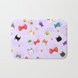 Cat Pattern Purple Bath Mat