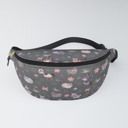 Adorable hand drawn farm animals pattern in pink and purple Fanny Pack