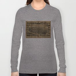 Vintage Pictorial Map of Sacramento CA (1890s) Long Sleeve T-shirt