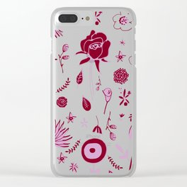 Pink and black floral with wild roses Clear iPhone Case