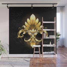 Golden Fleur de Lis Wall Mural