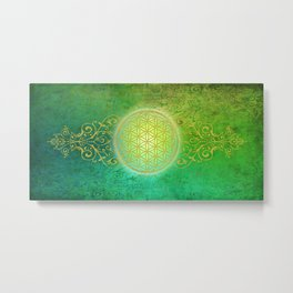 Flower Of Life Vintage gold green Metal Print