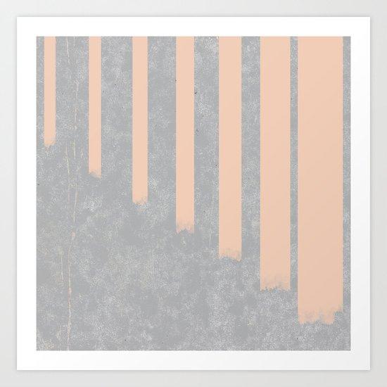 Blush stripes on concrete Art Print