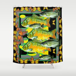 YELLOW & ORANGE MONARCH BUTTERFLIES FISH VIGNETTE Shower Curtain