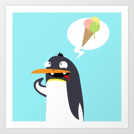 Craving Penguin Art Print