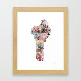 Benin map flowers Framed Art Print